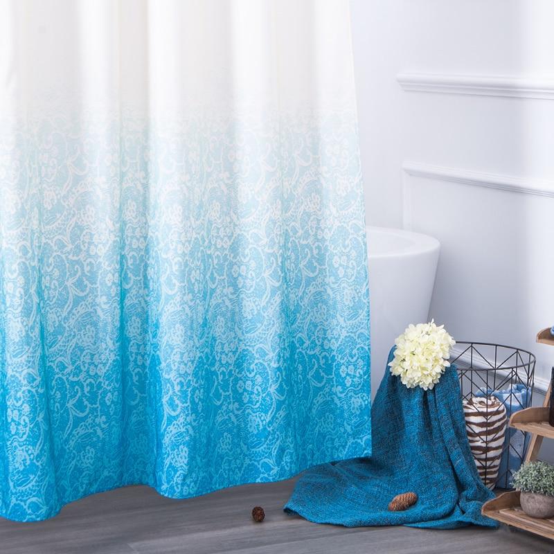 aimjerry 1818m eco friendly polyester waterproof gradient color bathroom product shower curtain with hooks rideau de douche - Rideau De Douche Color