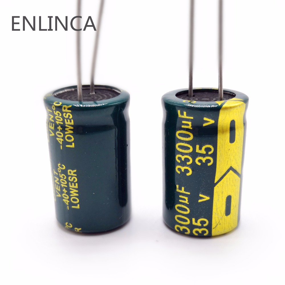 4pcs/lot H101 Low ESR/Impedance High Frequency 35v 3300UF Aluminum Electrolytic Capacitor Size 16*25 3300UF35V