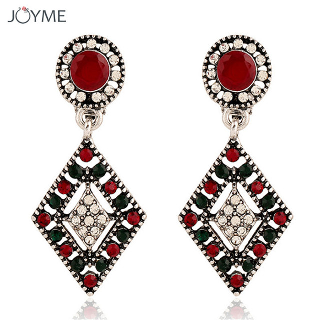 Fashion Resin Crystal Women Earrings No Hole Red Long Bohemian Silver Color Earring Cuff Clips