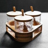 Danish design glass jar Spice rack Porta tempero 3/4 piece set spice box set Jars for spices Sugar can salt shaker