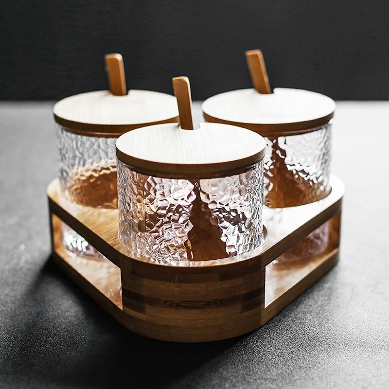 Pot en verre design danois support à épices Porta tempéro 3/4 pièce ensemble boîte à épices ensemble pots pour épices sucre peut salière
