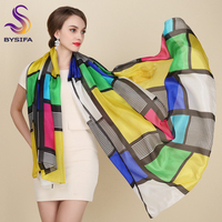 Plaid Pure Silk Scarf Female Apparel Accessories Brand Long Scarves Wraps Summer 100 Silk Scarf Tippet