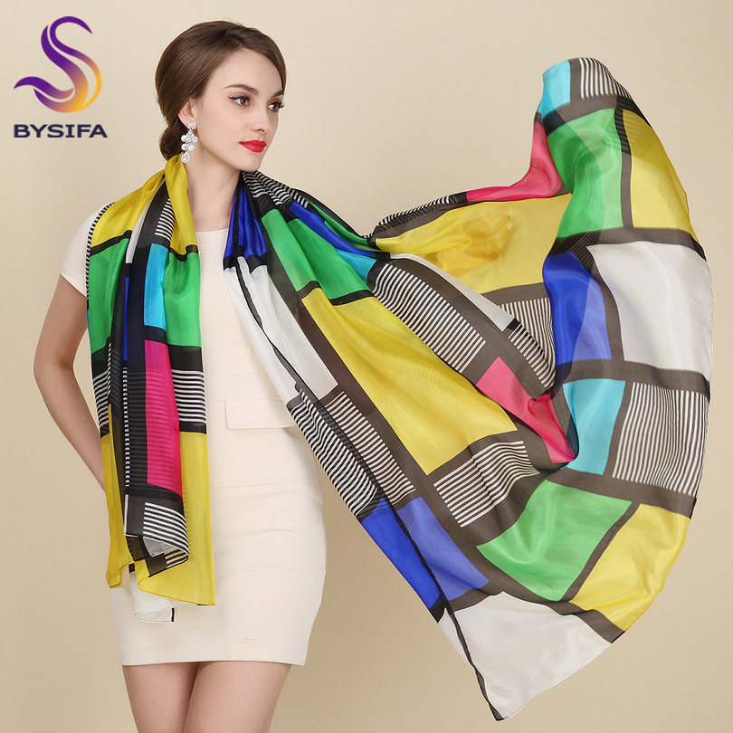 Plaid Pure Silk Scarf Female Apparel Accessories Brand Long Scarves Wraps Summer 100% Si ...