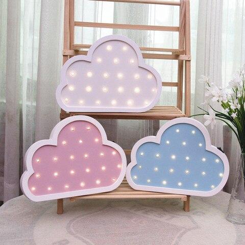 criativo grande nuvem de madeira noite luz parede led sem fio bateria criancas quarto luminaria