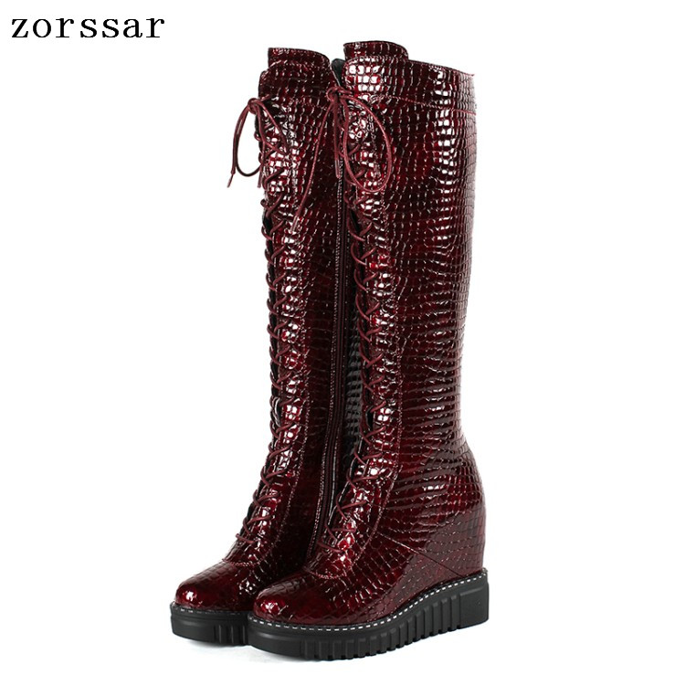 {Zorssar} women winter boots Genuine Leather height increasing women shoes high heel Over the knee boots Platform wedges boots крем для рук organic oblepikha planeta organica