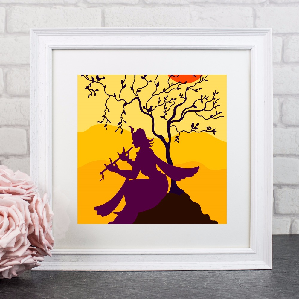 Flute Girl Krishna Artwork Canvas Art Print Painting Poster Wall ...