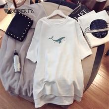 Summer Women Night Dress Print Shark Ferry Short Sleeve White Loose Clothes Vestidos Party Casual Sleepwear Plus Size 4XL 2019 стоимость