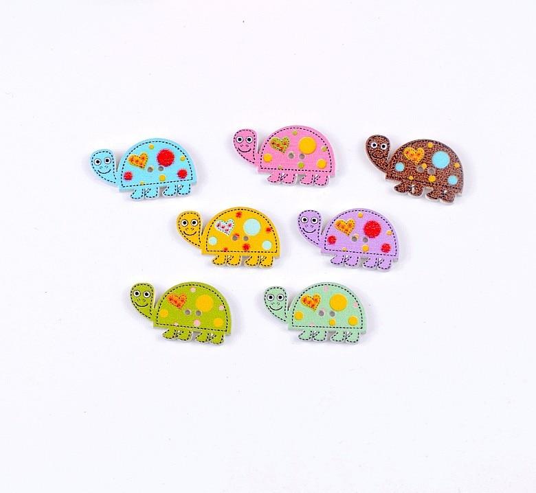 Free shipping 2015 Random 100pcs Mixed 2 Holes Cartoon Tortoise ...