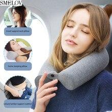 Portable adjustable U-Shape cotton slub fabric Headrest Neck support Pillow Soft Memory Foam travel Office Car Cervical