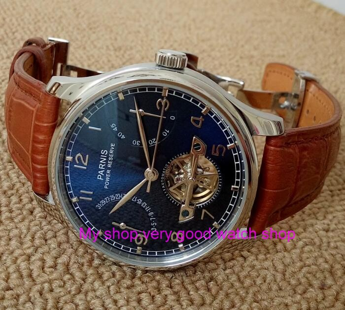 new blue dial 43mm PARNIS Butterfly buckle Automatic Self-Wind mechanical watches power reserve men watches183Anew blue dial 43mm PARNIS Butterfly buckle Automatic Self-Wind mechanical watches power reserve men watches183A