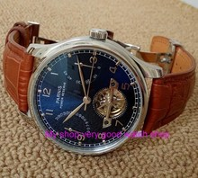 New blue dial 43mm butterfly hebilla automática auto-viento relojes mecánicos parnis power reserve hombres watches183a