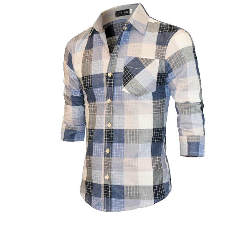 2016 New Autumn Fashion Brand Men Clothes Slim Men Three Quarter Sleeves Shirt Men Plaid Cotton Casual Men Shirt Social Blouse