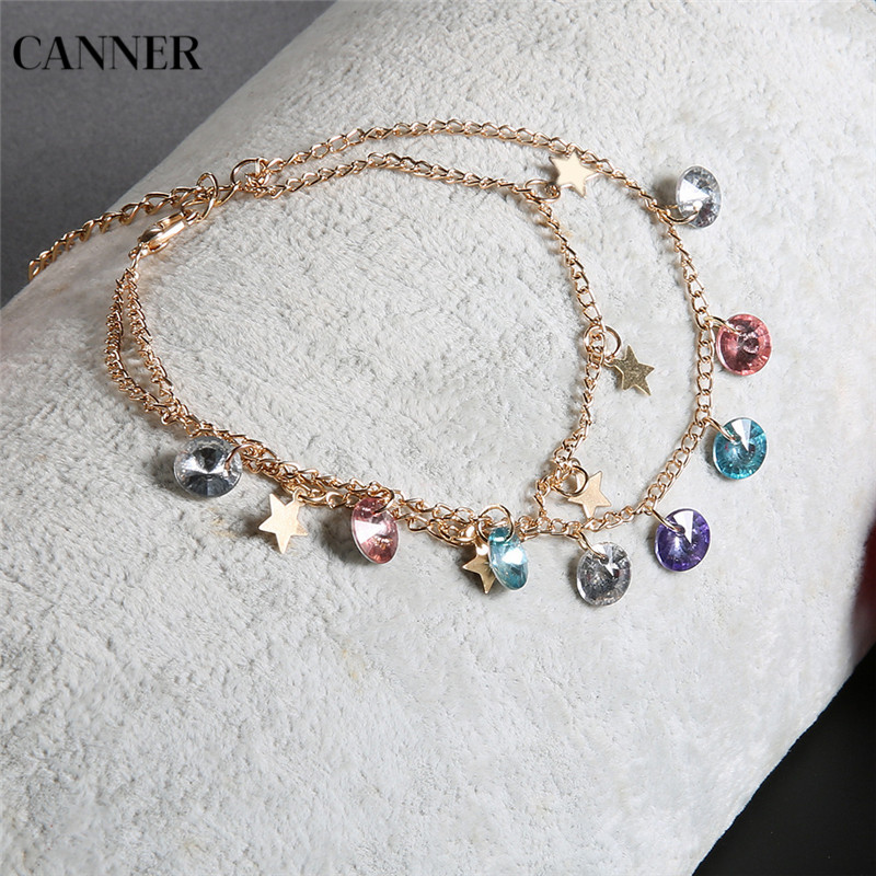 Canner 2019 New Colorful Crystal Beads Anklet Gold Star Double layer Anklet Bracelets For Women Bohemian Jewelry