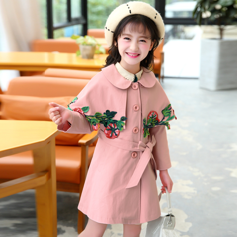 Baby Trench Coat Teenager School Windbreak 2018 Fashion Flowers Embroidery Long Korean Style Trench Fille Kids Teens Jackets 12 new men s military style casual fashion canvas outdoor camping travel hooded trench coat outerwear mens army parka long jackets