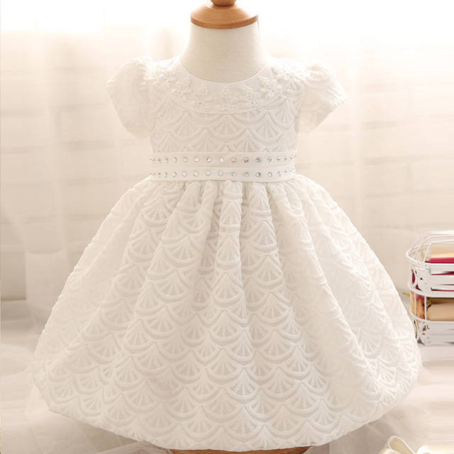 fc6ebaad2d99 100 Days Newborn Baby Girls Summer Short Sleeve Cotton Christening O-neck  Celebrity Mesh Birthday