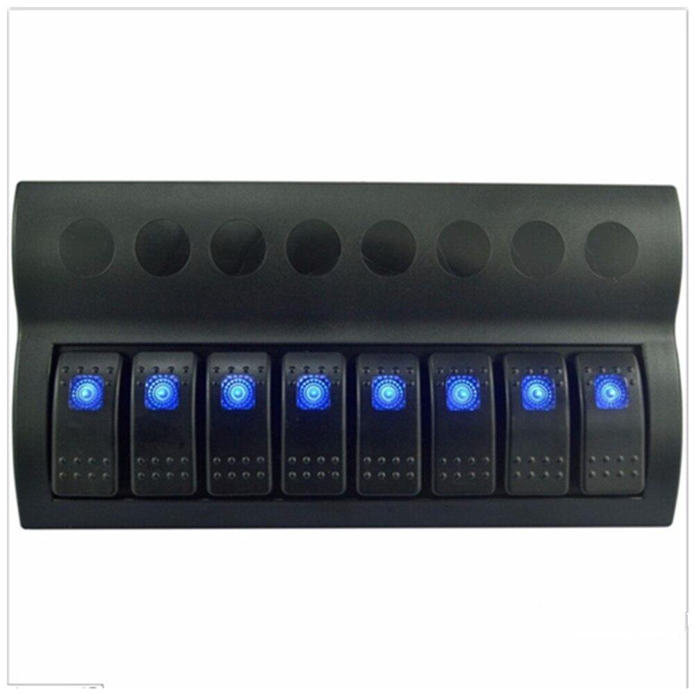 8 Gang 12 v/24 v Bleu et rouge LED interrupteur à bascule pour Voiture Bateau Marine Disjoncteurs Surcharge protégé