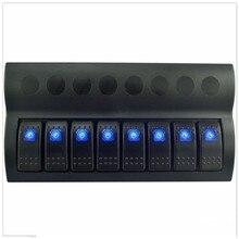 8 Gang 12v/24v Blue LED Car Marine Boat Rocker Switch Panel Circuit Breakers Overload Protected