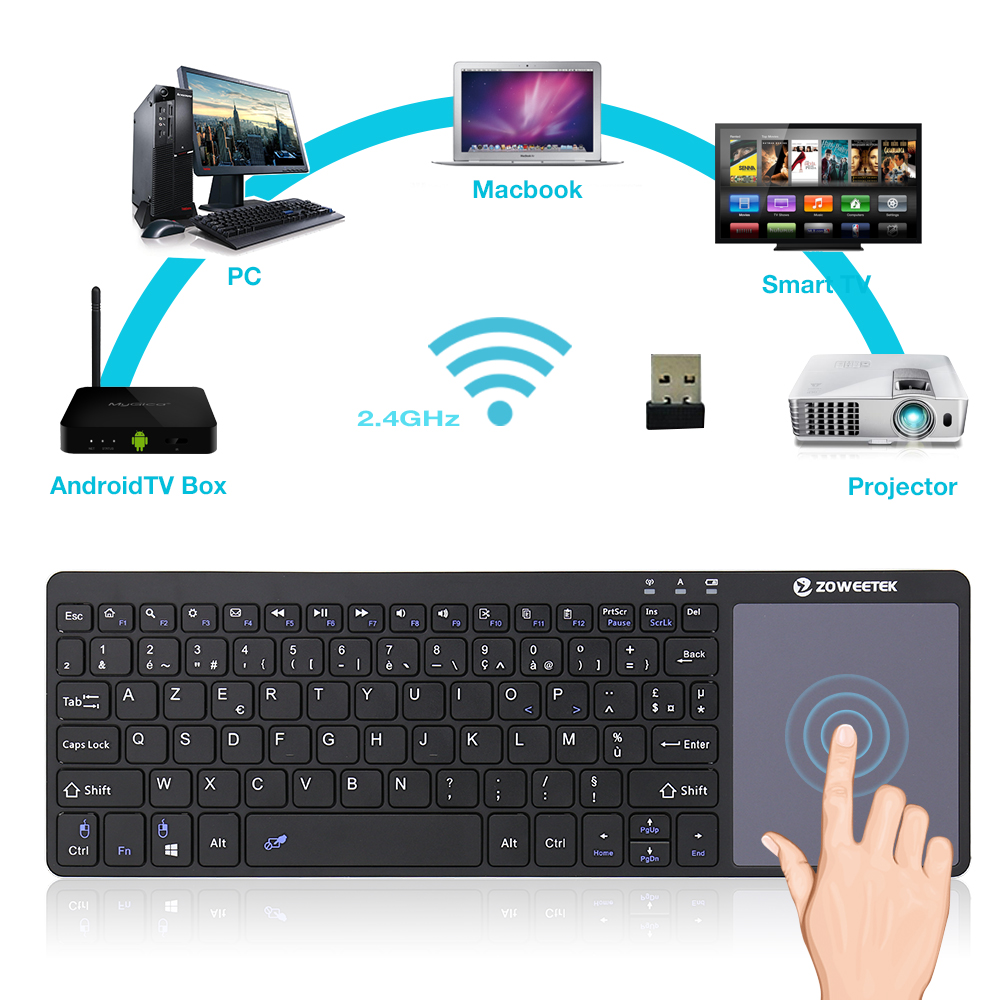 Zoweetek K12-1 2.4G Mini Wireless French Keyboard With Touchpad Gaming Keyboard Air Mouse For Mini PC Smart Android TV Box