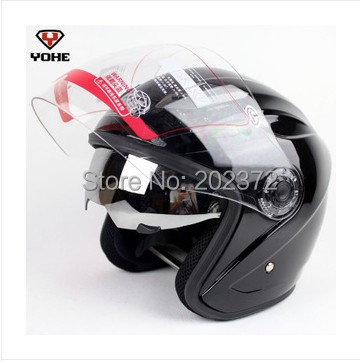 ФОТО Dual lens Motorbike half face YOHE 856 Helmets ,matte black summer motorcycle moto electric bicycle headpiece safety helmet