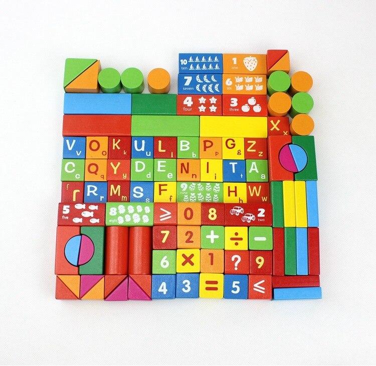 WYNLZQ 100 Pcs/lot jouets en bois numéros bloc jeu éducation cadeaux de noël jouet pour bébé enfants maternelle blocs couleurs - 4