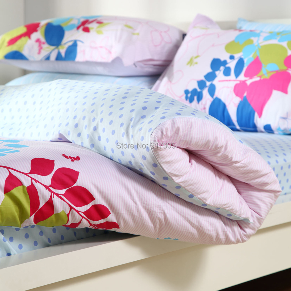 Romantic Home Textile Colorful Leaves Bedding Set Cute Purple Polka