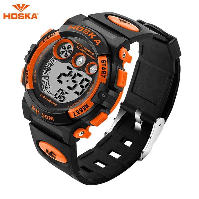 HOSKA Children Watches Kids Style LED Digital Cartoon Digital Quartz Watch Jelly Silicone 30m Waterproof Army Sport Wristwatches