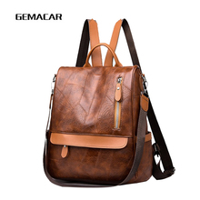 2019 Latest Popular Ladies Backpack Fashion Large Capacity Casual Bag Girl Student Work Pu Leather Waterproof Woman