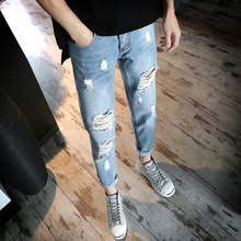 2017summer time new males Japanese small and pure and recent water gap in leisure pattern greater sizes toes 9 factors of denims bag mail