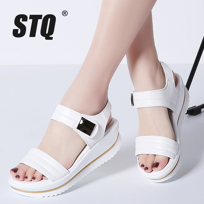 STQ Sandals Shoes Platform Flipflops White Wedge Ladies 825