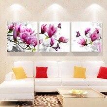 Triptychon Diamant Stickerei Bohrer Malerei Wandkunst orchideen Dekoration bilder an der wand wohnzimmer 3 stücke Handwerk W9 47 B025