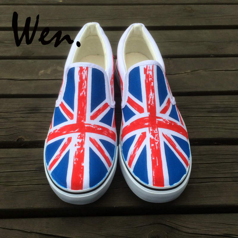 Inglaterra Personalizado Zapatos A Wen Mano Unisex Pintados Diseño Bandera Hombres On Shoes Slip OPN80wvymn