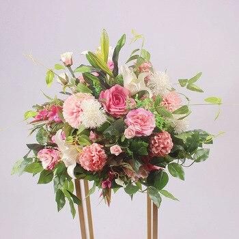1PC 40CM Wedding Road Lead Artificial Flower Decoration T Stage Simulation Flowers Roman Column Flower Rose Hydrangea Rose Ball