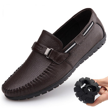 2019 New Men's Genuine Leather Shoes Anti-slip Father Soft Shoes Head Leather 38-44 Slip-on Black Man Leather Shoes