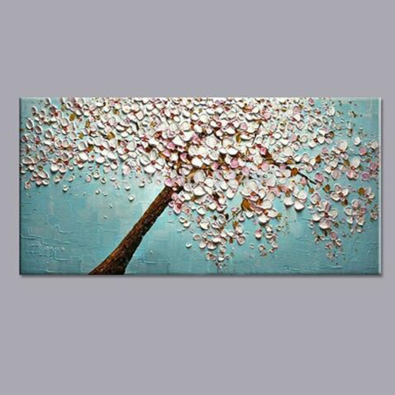 Large Handpainted Knife Flowers Oil Painting On Canvas Modern Abstract Wall Art Pictures Handmade Blue Acrylic