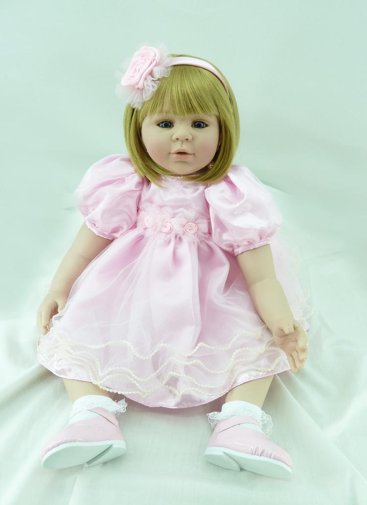 Pursue 24/60 cm Small Mouth Big Blue Eyes Silicone Reborn Toddler Girl Baby Dolls Lifelike Cotton Body Princess Girl Doll Gift pursue 22 56 cm big smile face reborn boy toddler baby doll cotton body vinyl silicone baby boy doll for children birthday gift