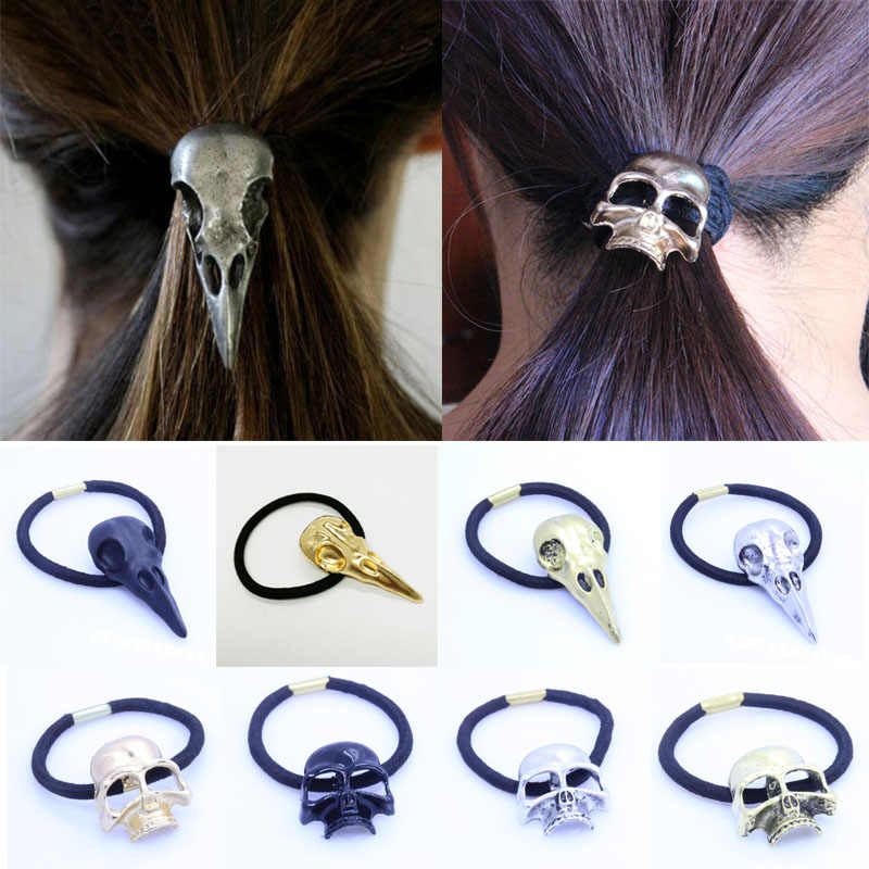 Fashion 1Pc Women Punk Gothic Raven Skull Elastic Hair Rope Metal Halloween Hair Jewelry Gift 8 Styles 4 Colors