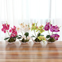 Fashion Three Fork Butterfly Orchid Bonsai Artificial Flower White Flowerpot Set Home Wedding Xmas Party Decoration
