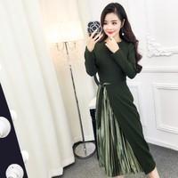 2017 New Women dress Upset Slim Firm Offers Accept Waist Split Color Matching Pressure Plait Dresses Army Green Gray 1819