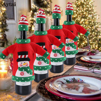 Aytai 20pcs Wine Bottle Cover Bags Christmas Gift Decoration Santa Claus Dinner Table Decoration Clothes With Hats Drop shipping