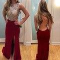 Vestidos de baile Vermelho Vestidos de Baile 2016 Mangas Frente Dividir Sereia com Sexy Backless Custom Made vestidos de Noite Vestido de Festa