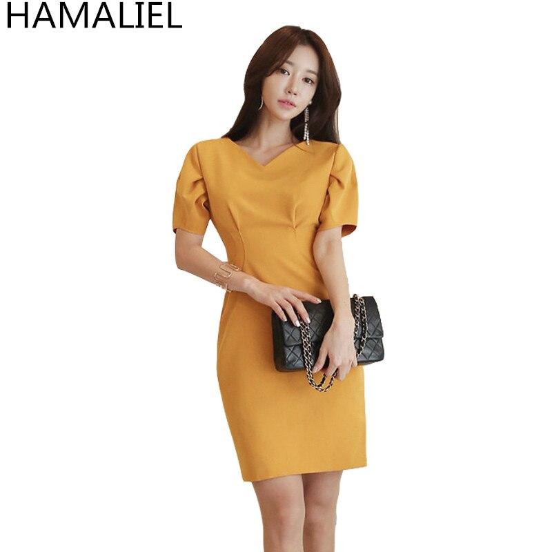 HAMALIEL Korean Women Summer Pencil Party Dress 2018 Fashion Yellow Short Sleeve Work Female Business Sheath Bodycon OL Dress