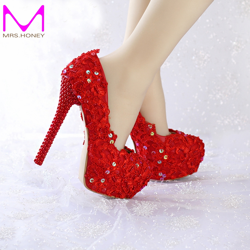 ФОТО 2016 Women Pumps Fashion Wedding Shoes Red Color Glittering Platform Party Prom Shoes Spring And Summer Formal Dress Shoes