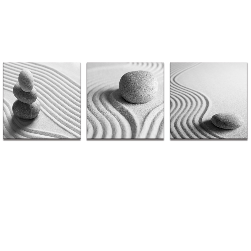 Black and white sand zen stone canvas wall art sand for Black and white wall art
