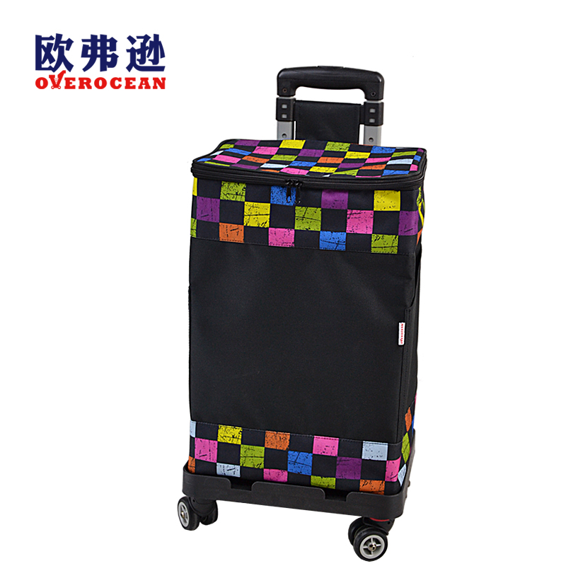 4 Wheels Shopping Cart Thickened Steel Thermal Shopping Bag For Freezer Adjustable Telescopic Rod Shopping Trolley Base Foldable