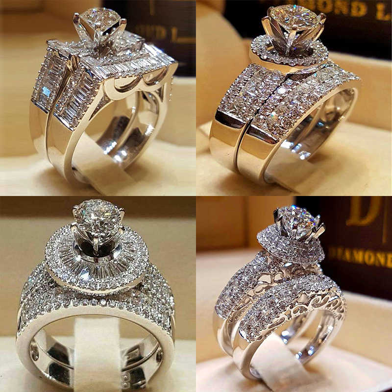 Anel de Pedra de Cristal de Zircão de moda Feminina Conjunto Bonito 925 Prata Grande Anel De Casamento Amor de Luxo Anéis de Noivado Para As Mulheres