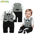 2016 calças do bebê preso sem forro vestuário superior de uma nova modelagem menino cavalheiro terno cavalheiro roupas longo-manga