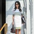 2015 Летом Новая Мода Ежедневно женская Коротким Рукавом Плюс XXL полосы Контрастного Цвета Светло-Зеленый и Белый Офис Мини Оболочка платье