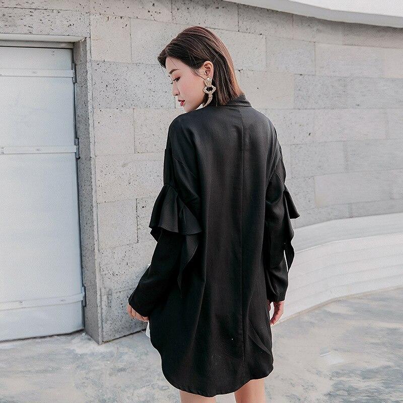 Chemises Blouse À Automne Femmes Europe américain Blusas Rue Printemps Solides Volants Femme down Longues 2019 Col Turn Manches Q519 Hauts Tt4wFfqq