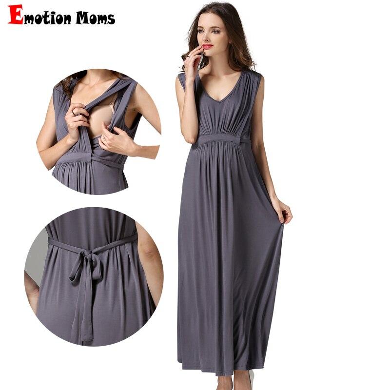Emotion moms Women's Long Summer Party Evening Dresses  Maternity Breastfeeding pregnancy Dresses for Pregnant Women