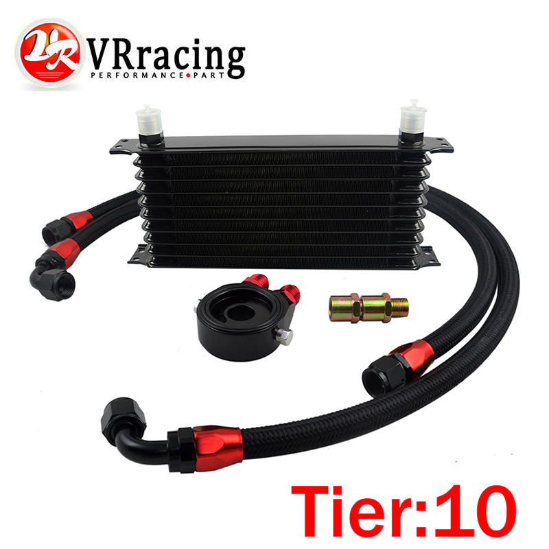 ФОТО VR RACING- UNIVERSAL 10 ROWS TRUST TYPE OIL COOLER+OIL FILTER SANDWICH ADAPTER+ SS NYLON STAINLESS STEEL BRAIDED AN10 HOSE